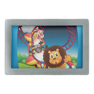 Television screen with animals on the rollercoaste belt buckle