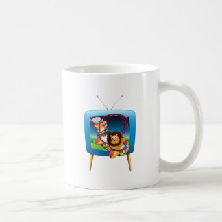 Television screen with animals on the rollercoaste coffee mug