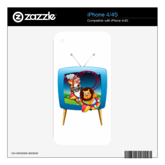 Television screen with animals on the rollercoaste decal for iPhone 4