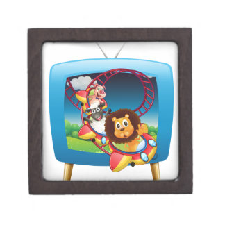 Television screen with animals on the rollercoaste gift box