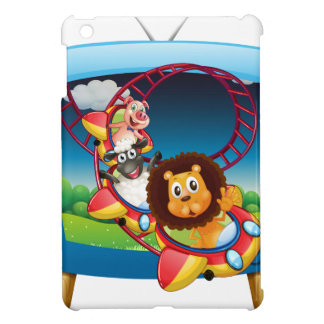 Television screen with animals on the rollercoaste iPad mini case