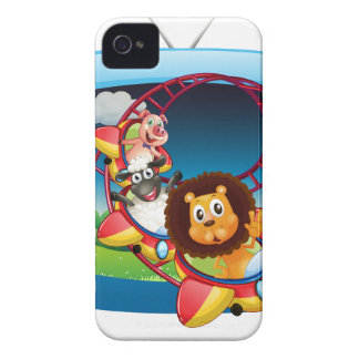 Television screen with animals on the rollercoaste iPhone 4 case