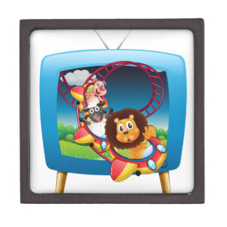 Television screen with animals on the rollercoaste keepsake box