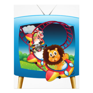 Television screen with animals on the rollercoaste letterhead