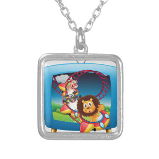 Television screen with animals on the rollercoaste square pendant necklace