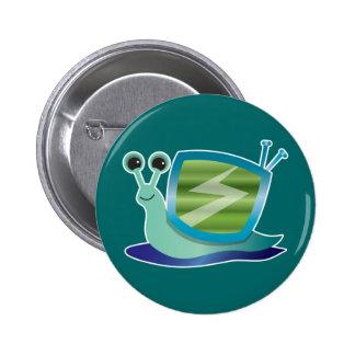 Television snail pinback button