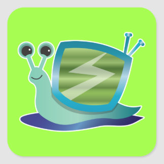 Television snail square sticker
