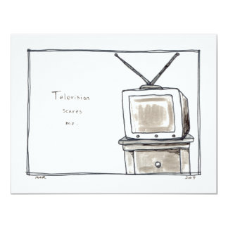 Television TV scares me fun simple original art Card