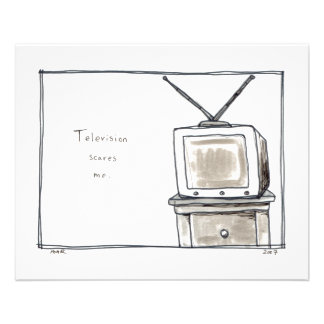 Television TV scares me fun simple original art Full Color Flyer