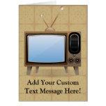 Televisión vieja del piso del vintage felicitacion