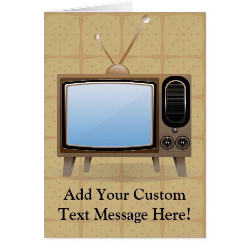 Televisión vieja del piso del vintage tarjeta de felicitación