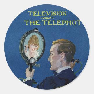 Televisión y el Telephot Pegatina Redonda