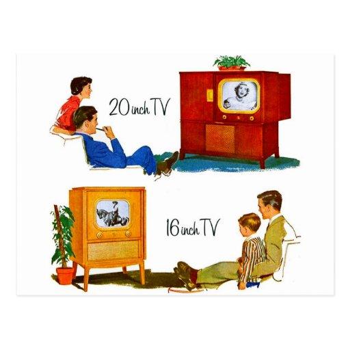 """Televisiones retras del kitsch 50s del vintage 19"""" tarjeta postal"""