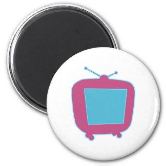 Televisor reclamo de neón tv neon sign imán redondo 5 cm