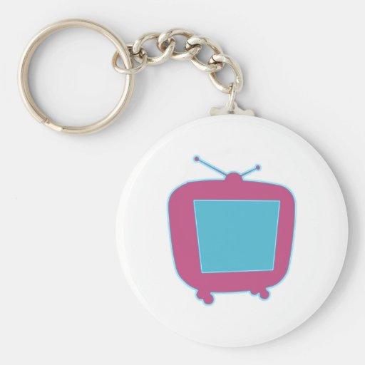 Televisor reclamo de neón tv neon sign llavero redondo tipo pin