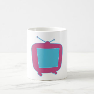 Televisor reclamo de neón tv neon sign taza de café