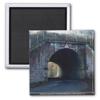 Telfords aqueduct at Market Drayton, Shropshire, U 2 Inch Square Magnet