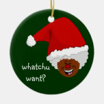 Tell Black Santa What You Want for Christmas Ceramic Ornament