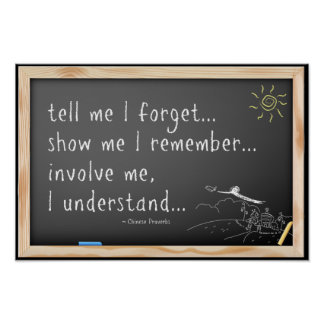 Tell me I forget quote.  Chinese Proverb Print