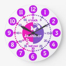 Tell time girls pink purple name learning clock at Zazzle