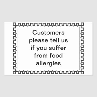 Tell us if you have food allergy rectangular sticker