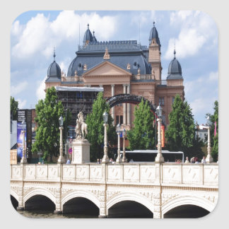 Telling the story of peace and joy Schwerin Square Sticker