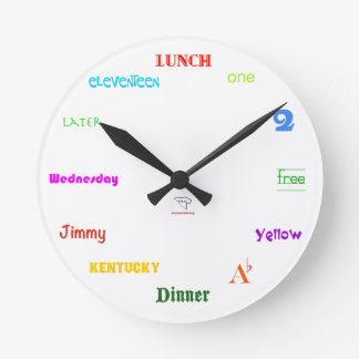 Telling Time-White, Sm Round Wall Clock