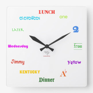 Telling Time-White Square Wall Clock