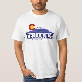 Telluride Colorado wood flag mountains tshirt