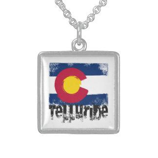 Telluride Grunge Flag Square Pendant Necklace