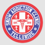Telluride Snow Addiction Clinic Classic Round Sticker