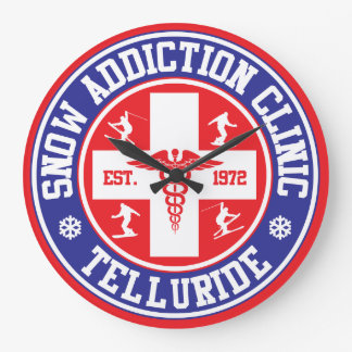 Telluride Snow Addiction Clinic Large Clock