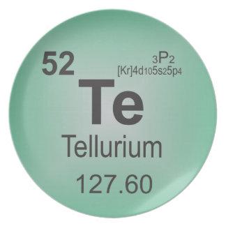 Tellurium Individual Element of the Periodic Table Melamine Plate