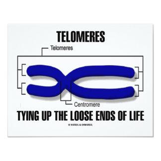 """Telomeres que ata encima de finales flojos de la invitación 4.25"""" x 5.5"""""""