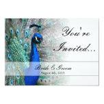 Tema 1 (aguamarina) del boda del pavo real invitaciones personalizada