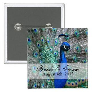 Tema 1 del boda del pavo real pin cuadrado