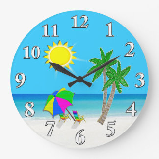 Tema alegre de la playa de los relojes de pared de
