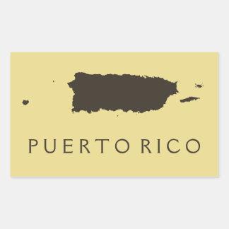 Tema amarillo del mapa de Puerto Rico de las Pegatina Rectangular