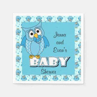 Tema azul de la fiesta de bienvenida al bebé del servilleta desechable