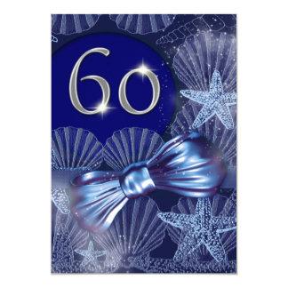 """tema azul de la playa del 60.o cumpleaños invitación 5"""" x 7"""""""