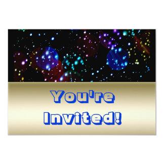 """Tema azul del espacio exterior del oro brillante invitación 5"""" x 7"""""""