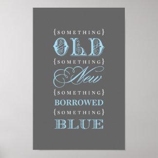 Tema azul prestado nupcial de la muestra el de l posters