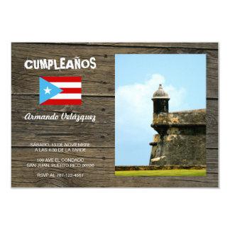 Tema Bandera Azul Celeste Puerto Rico 3.5x5 Paper Invitation Card