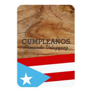 Tema: Bandera Azul Celeste: Puerto Rico 3.5x5 Paper Invitation Card