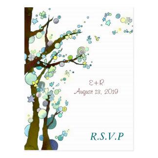 Tema blanco RSVP que se casa romántico del árbol Postales