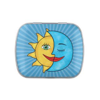 Tema celestial de los rayos solares de la luna de  frascos de dulces