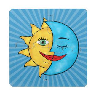 Tema celestial de Rainboow de la luna de Sun Posavasos De Puzzle