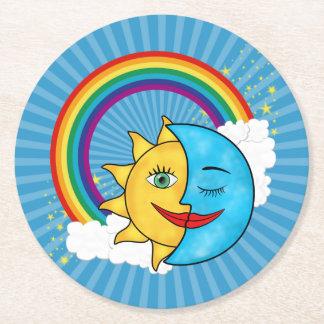 Tema celestial de Rainboow de la luna de Sun Posavasos Personalizable Redondo