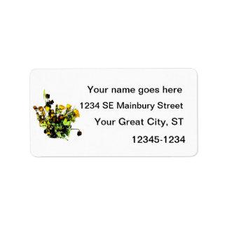 Tema color de rosa secado del amarillo del arreglo etiqueta de dirección