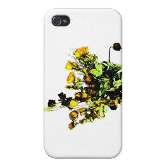 Tema color de rosa secado del amarillo del arreglo iPhone 4 carcasas